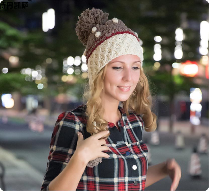Model displaying our cute beanie