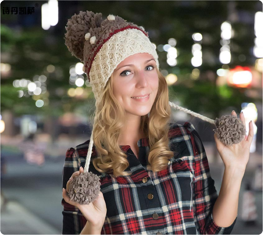 Model with our downy plait beanie