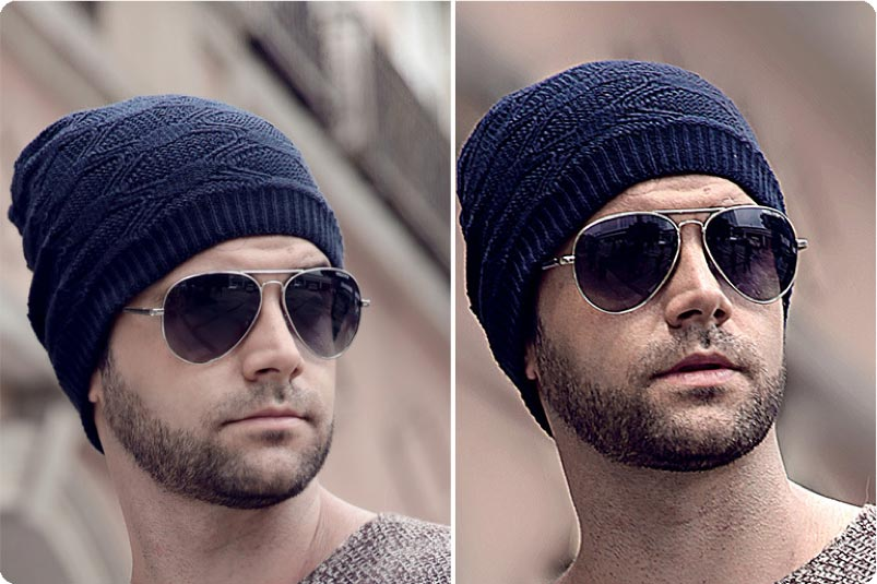 Model with sun glasses and beanie