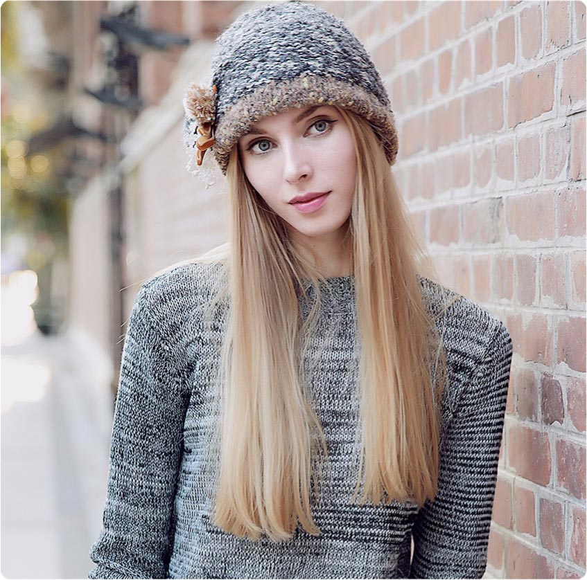 Beautiful model displaying our beanie