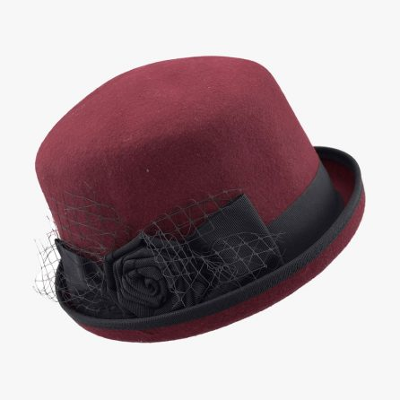 Meshy Derby Hat – Wine Red