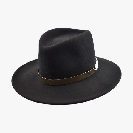 Chain Fedora Hat – Black