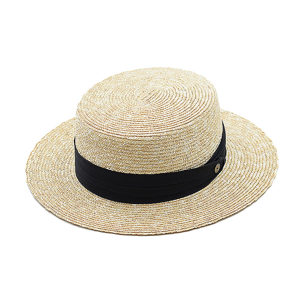 Button Ribbon Flat Crown Boater – Natural