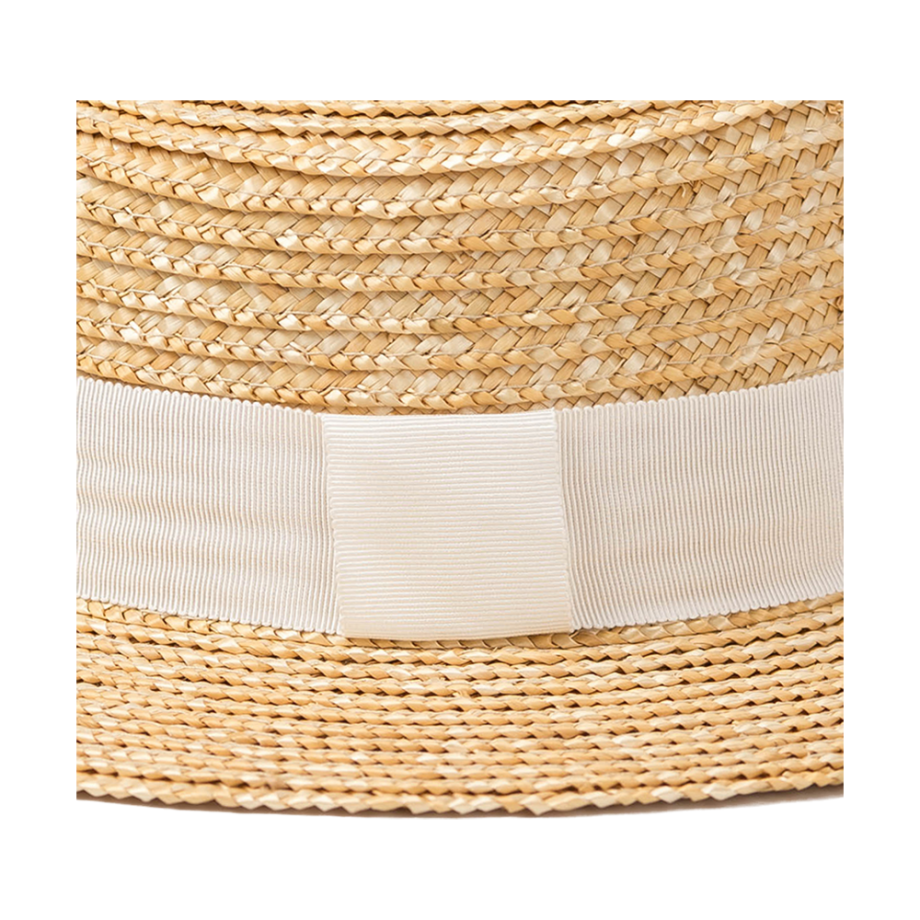 Simple Natural Boater Hat with White Ribbon