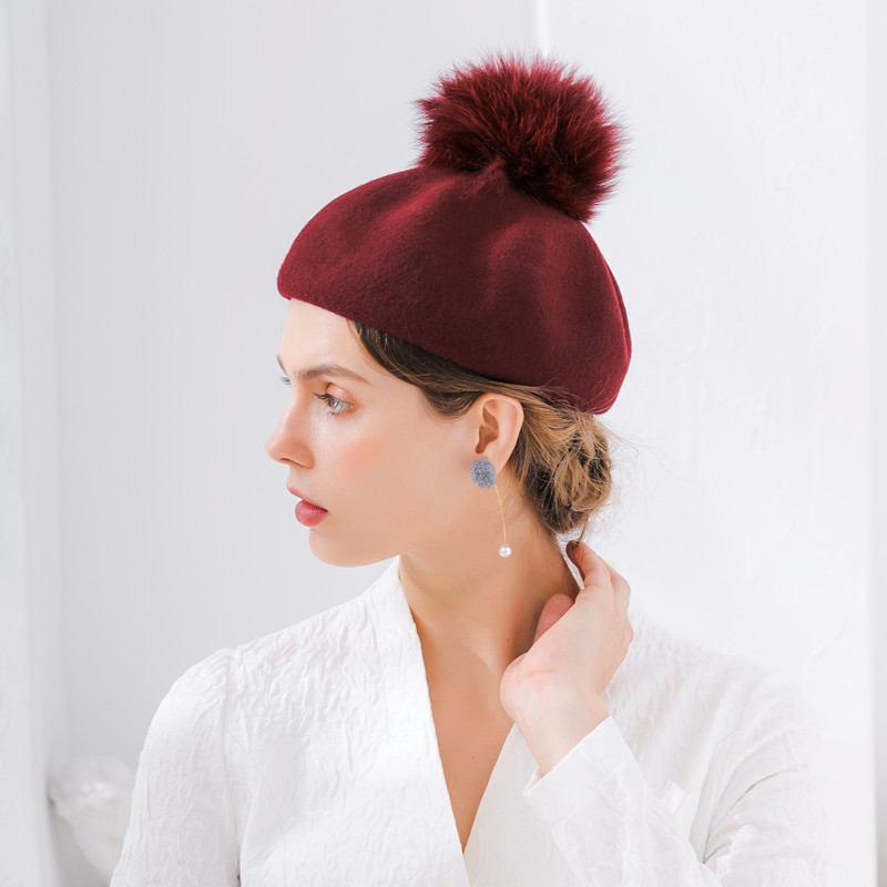 Furry Pumpkin Beret Wine Red