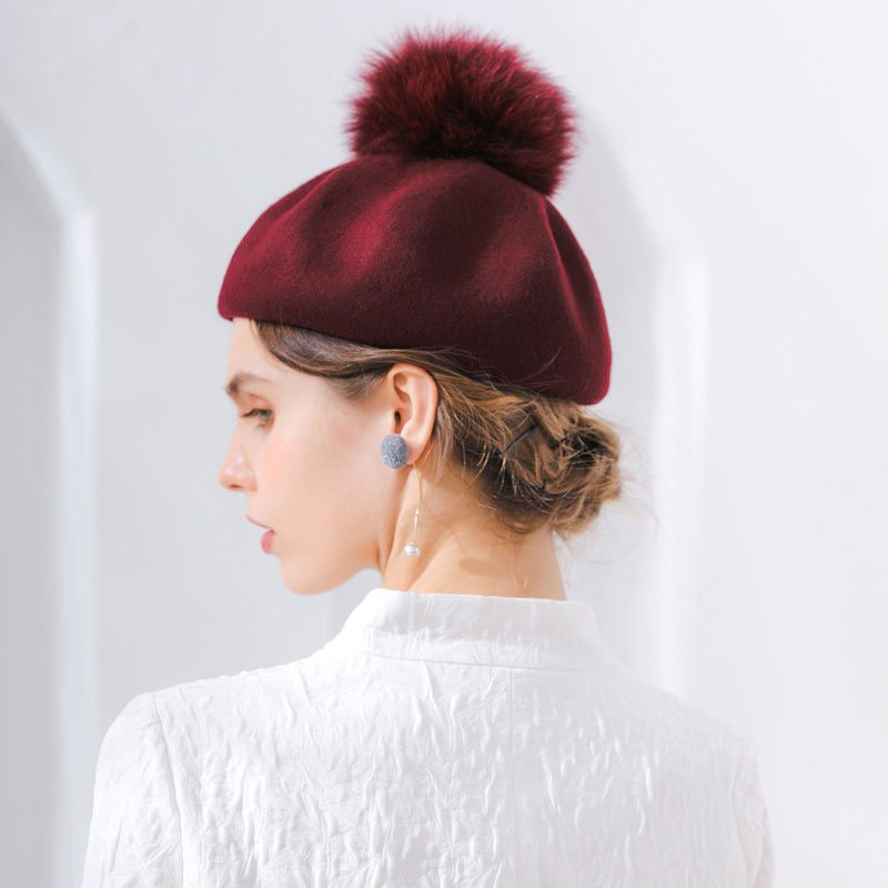 Furry Pumpkin Beret Wine Red3