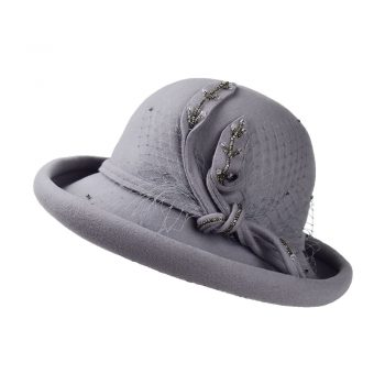 Rolled-up Floral Hat - Light Grey Cyan1